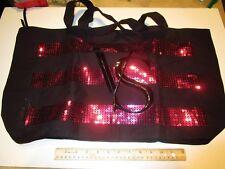 NEW Victorias Secret VS Black & Pink Sequin Weekender Tote Bag Shimmer Shoulder