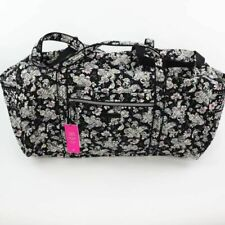 Vera Bradley Womens Iconic Large Travel Duffel Bag Black Quilted Floral New