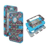 Hybrid 3 / 1 Blue Pink Tribal  Apple Iphone 4 , 4S , 4G Cover Case