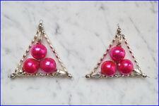 2 alte Gablonzer Glas Ornamente in silber und pink (# 6548)