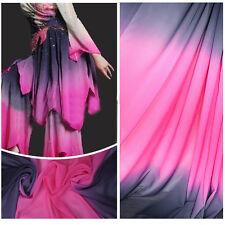 2 Yard Black Rose Gradient Shade Chiffon Fabric Dancing Dress Material