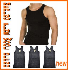 Mens Merino Fine Wool Blend Seamless Thermal Singlet  3 pack Black and Beige