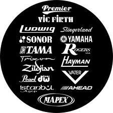 Manufacturers Bass drum logo, Premier, Pearl, Gretsch, Yamaha, Ludwig, DW etc
