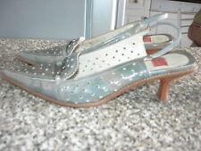escarpins mules cuir verni gris Goffredo FANTINI I 37,5 F 38 chaussure shoe UK 5