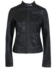 Classic Women PU Leather Jacket Biker Coat Motorcycle Size AU 6 8 10 12 14 16 18