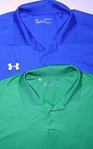 Mens EUC Lot of 2 Blue/Green UNDER ARMOUR HeatGear Technical Golf Polo Shirt XL