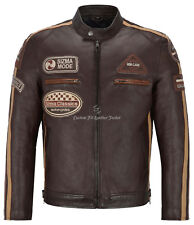 SIZMA Men's Leather Jacket Brown Classic Motorcycle Fashion Real Lambskin 5011