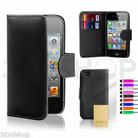 NEW WALLET LEATHER CASE COVER FOR IPHONE 4 4S FREE SCREEN PROTECTOR STYLUS