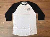 Vans Authentic Raglan 3/4 Sleeve T-Shirt White Black Mens SZ M (VN0A4TVGYB2) NWT