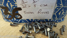 "PACK OF 50  3/32"" x 3/8"" COUNTERSUNK HEAD STEEL IRON RIVETS  NOS STEAM  BOX 36"