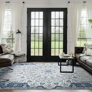 Deal Large Rugs Navy Blue Grey Persian Traditonal Lounges Carpet Mat 200x290cm