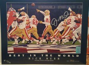 Joe Montana Signed 49ers 9x12 Lithograph L.E. #6/16 - MONTANA PLAYER HOLOGRAM