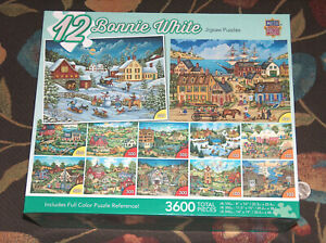 NEW Sealed 12 Bonnie White Master Jigsaw Puzzles 3600 Total Pieces Age 13+ NIB