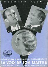 MUSIQUE CATALOGUE DISQUES LA VOIX DE SON MAÎTRE Février 1934