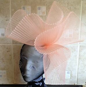 Peach coral nude fascinator millinery burlesque wedding hat ascot race bridal x