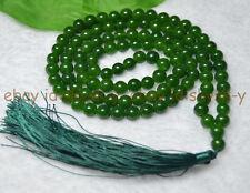 Handmade 8mm Tibetan Buddhism 108 Green Jade Prayer Bead Mantra Mala Necklace
