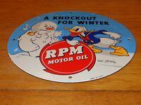 "VINTAGE RPM OIL ""DONALD DUCK"" 11 3/4"" PORCELAIN METAL WALT DISNEY GASOLINE SIGN!"