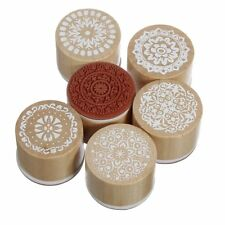 6 Assorted Wooden Rubber Stamp Round Handwriting Floral Flower Craft WS E4D5