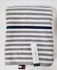 NEW TOMMY HILFIGER GRAY,NAVY,WHITE HORIZONTAL STRIPE 100% COTTON BATH TOWEL
