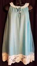 Vintage 60s Aqua Blue Nylon Tulle White LACE Babydoll CHEMISE Nightie Gown ~ M