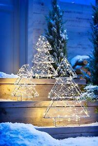 LED 3 XL 3D  Metall Lichterkette Gartendeko Weihnachtsdeko Tannenbaum Baum Draht