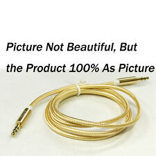 Male to Male 3.5mm Gold Car Aux Auxiliary Cord Stereo Audio Cable for Phone
