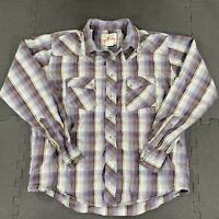 Vintage Wrangler Pearl Snap Long Sleeve Shirt Mens Large Stripe Western Cowboy