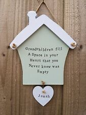Personalised Wood Plaque Sign House Gift Present Nanny Grandma Grandparent Heart