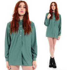 Vintage 70s Slate Green DRAPED Blouse Secretary Shirt Tunic Top Gypsy Boho Disco