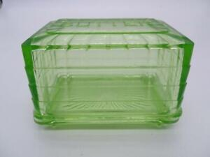 Antique Green Depression Glass Covered Butter Jar Box Vintage Refrigerator Old