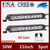 2X 11inch 50W Single Row Cree LED Light Bar Spot Driving Lamp 4WD 3D Lens 4170lm