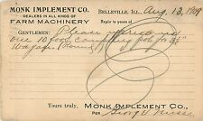 The Monk Implement Company, Farm Machinery, Belleville IL 1909
