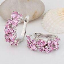 Charm Women White Gold Pink Sapphire Cluster Stud Hoop Earrings Wedding Jewelry