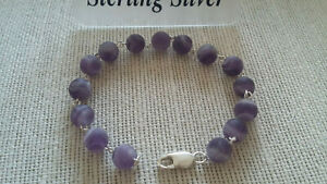 "UK HandMade 7.5"" Sterling Silver Frosted Amethyst Beaded Bracelet February B/day"