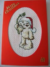 """Christmas Card Completed Cross Stitch Lickle Ted 6X4"""""""