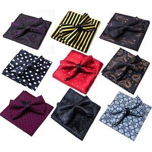 Mens Premium Silk Paisley Bright Wedding Bow Tie Pocket Square Handkerchief Set