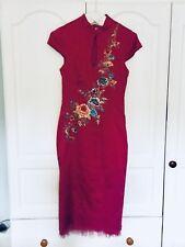 Vintage Karen Millen Pink Chinese/oriental Style Dress 10