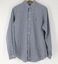 Ralph Lauren classic fit plaid l/s men's shirt Large Navy Blue White Check