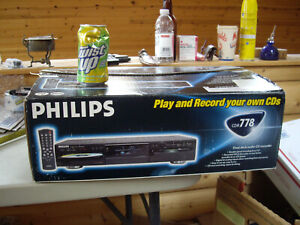 Philips CDR778 Audio CD Recorder Dual Deck NEW IN OPEN BOX-NEVER REMOVED FROM BX