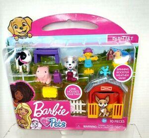 Barbie Pets Felt Animals 10 pieces W/Spinning Rooster Weather Vane Farm Set NIP