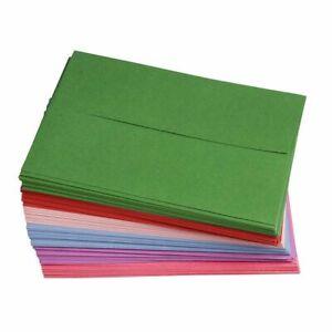 96-Pack A7 6 Colors Invitation Envelopes 5x7 Gummed Seal Square-Flap Invites