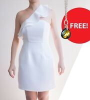 *AS NEW* One Shoulder Ruffle Cocktail Dress – Size 10 White + FREE Necklace