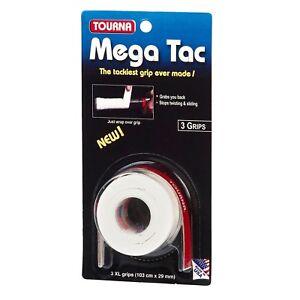 3 TOURNA Mega Tac Tennis Squash Badminton Racquet Overgrip XL Over Grip in White