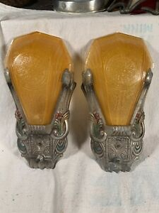 Pair of Art Deco Amber Slip Glass Shade Wall Sconce Light Fixtures Theatre Lite