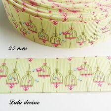Ruban gros grain vert clair Oiseaux rose & bleu dans une cage de 25 mm au mètre