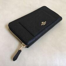 NWT Coach Black Crossgrain Leather Accordion Zip Around Wallet F54007