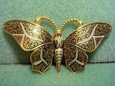 Vintage Damascene Large Butterfly Moth Insect Pin Brooch Spain