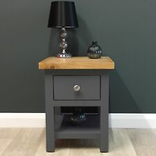 Painted Lamp Table Oak / Dark Grey Side Table / Solid Wood / Bedside Table Trend