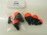 6 x Pike Fishing Floats. Inline Split Pikers / Slider Style. Sml, Med and Lrg