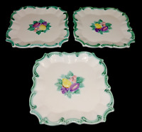 Vintage The Haldon Group 1988 Porcelain Square Scalloped Fruit Plates Lot of 3